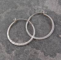 battered silver small hoop earrings by otis jaxon silver ...