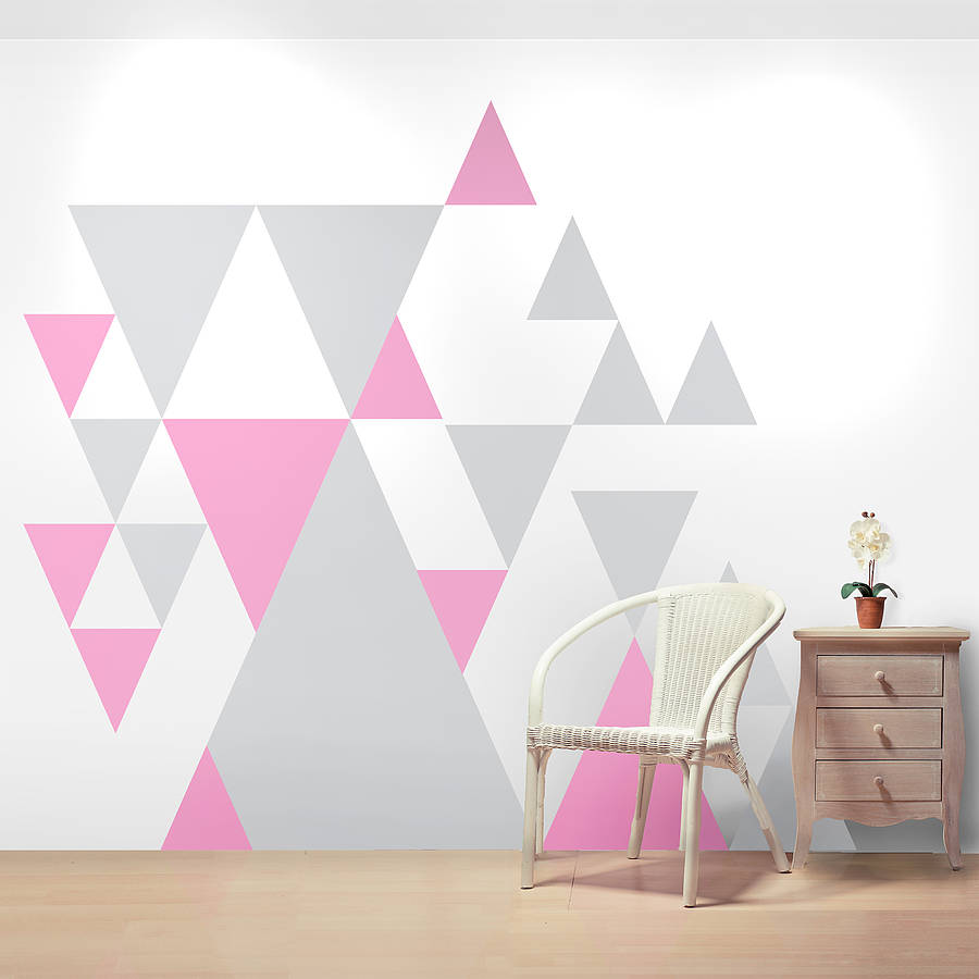Peinture Triangle Chambre Geometric Pattern Giant Wall Sticker Set By Oakdene