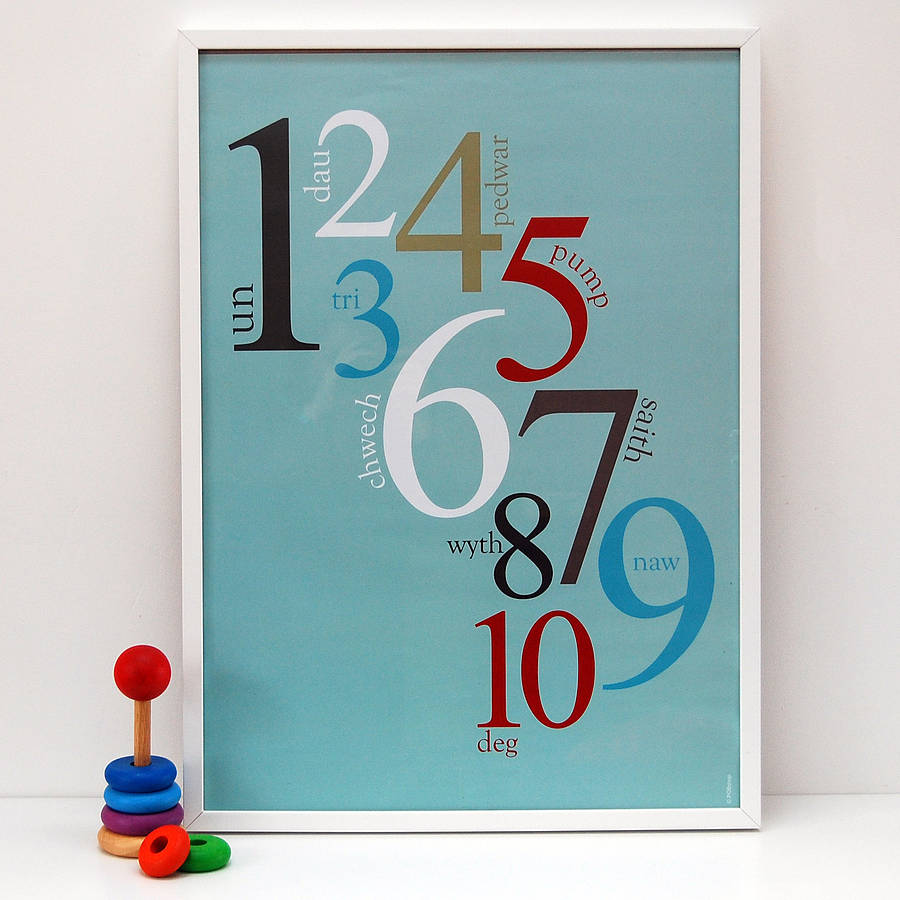 Ribba Frame Welsh Numbers Poster By Adra | Notonthehighstreet.com