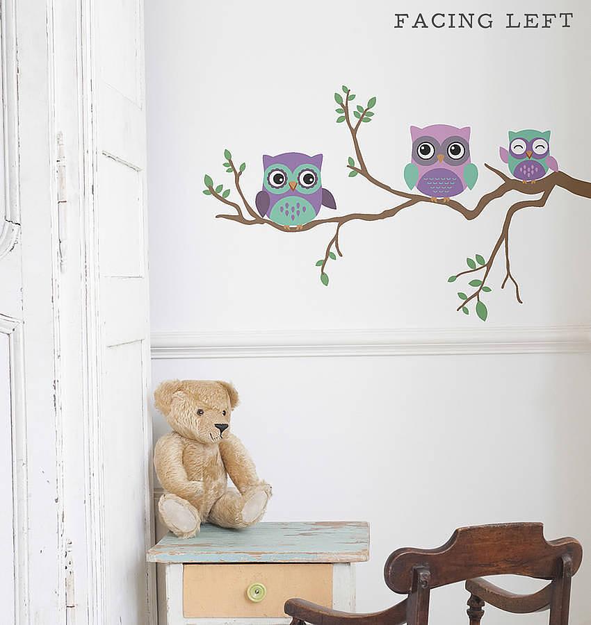 Wallpaper Ideas For Baby Girl Nursery Children S Wall Sticker Owl By Oakdene Designs