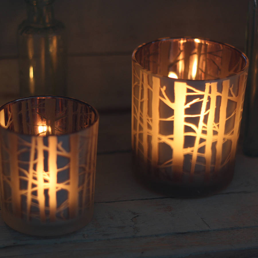 Frosted Glass Tea Light Holder With Branches By The