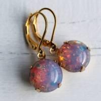 pink fire opal earrings by silk purse, sow's ear ...