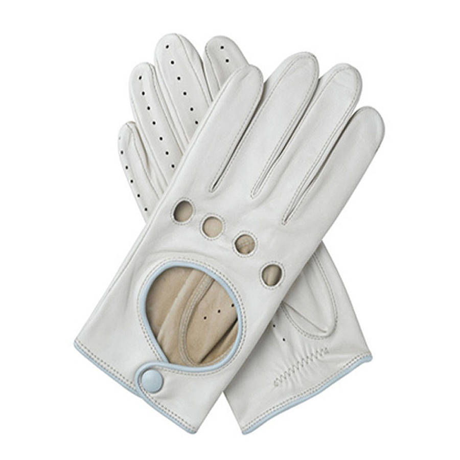 Jules women s contrast leather driving glove almond