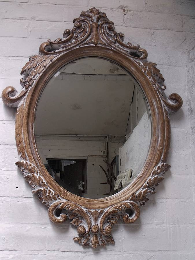 Hand Crafted Mirrors Oval Bevelled Ornate Mirror By Hand Crafted Mirrors