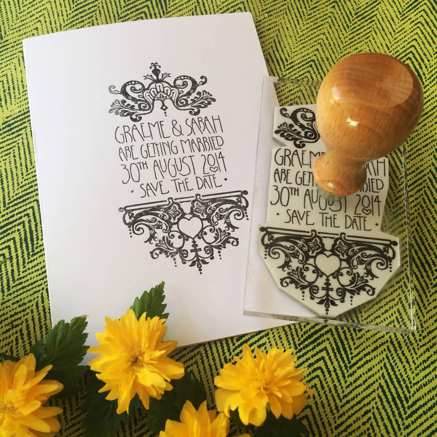personalised filigree wedding stamp wedding postage stamps Personalised Filigree Wedding Stamp
