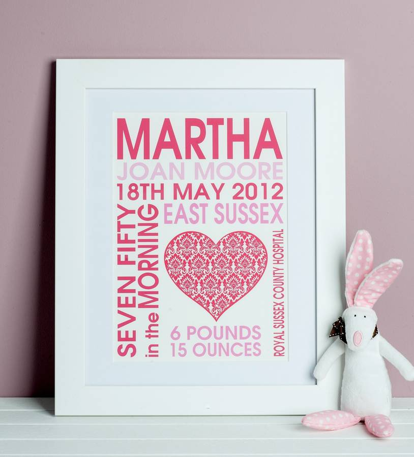 new baby birth date heart print by lush baby notonthehighstreet