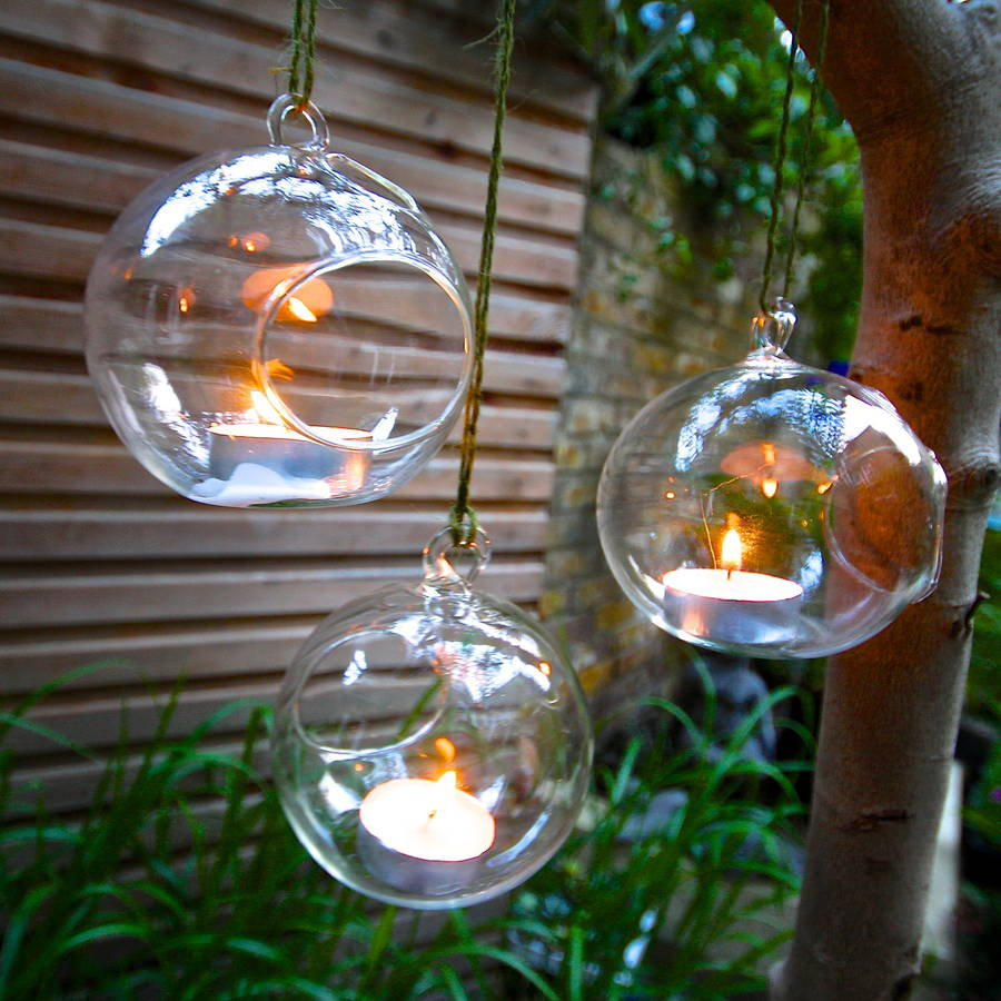 Set Of Four Hanging Tealight Votives By London Garden