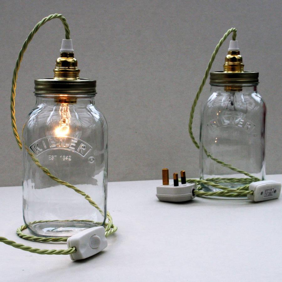 bespoke kilner jar table lamp by unique's co