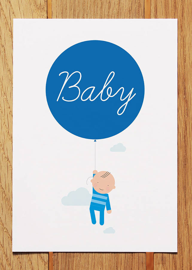 new baby boy with balloon card by showler and showler
