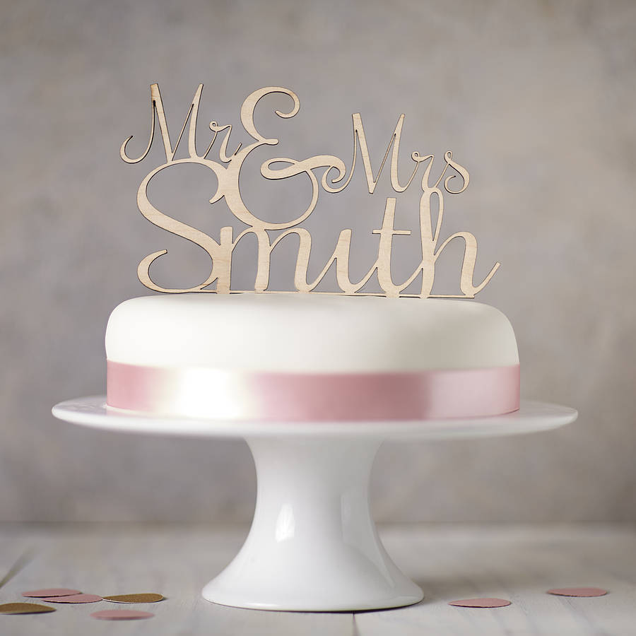 personalised mr and mrs cake topper wedding cake topper Personalised Mr And Mrs Wedding Cake Topper
