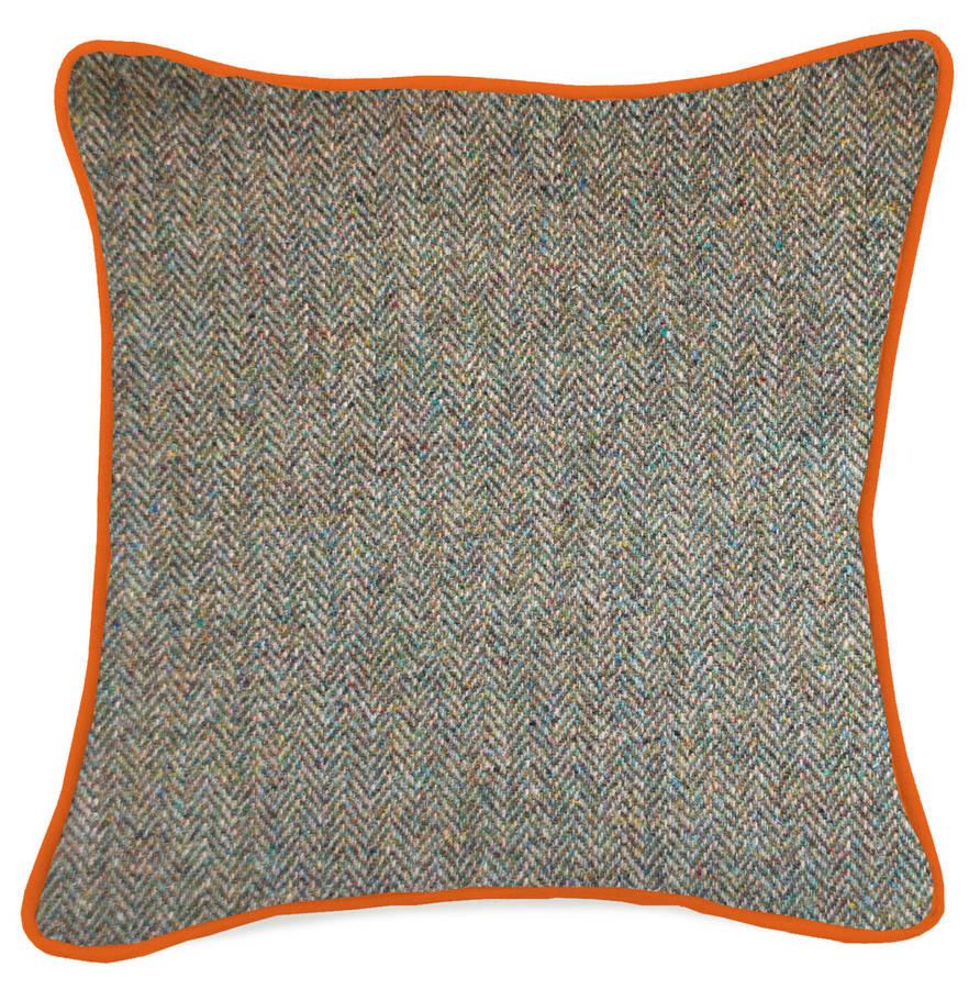 Mayenne Turquoise Harris Tweed Cushion Large Pattern By