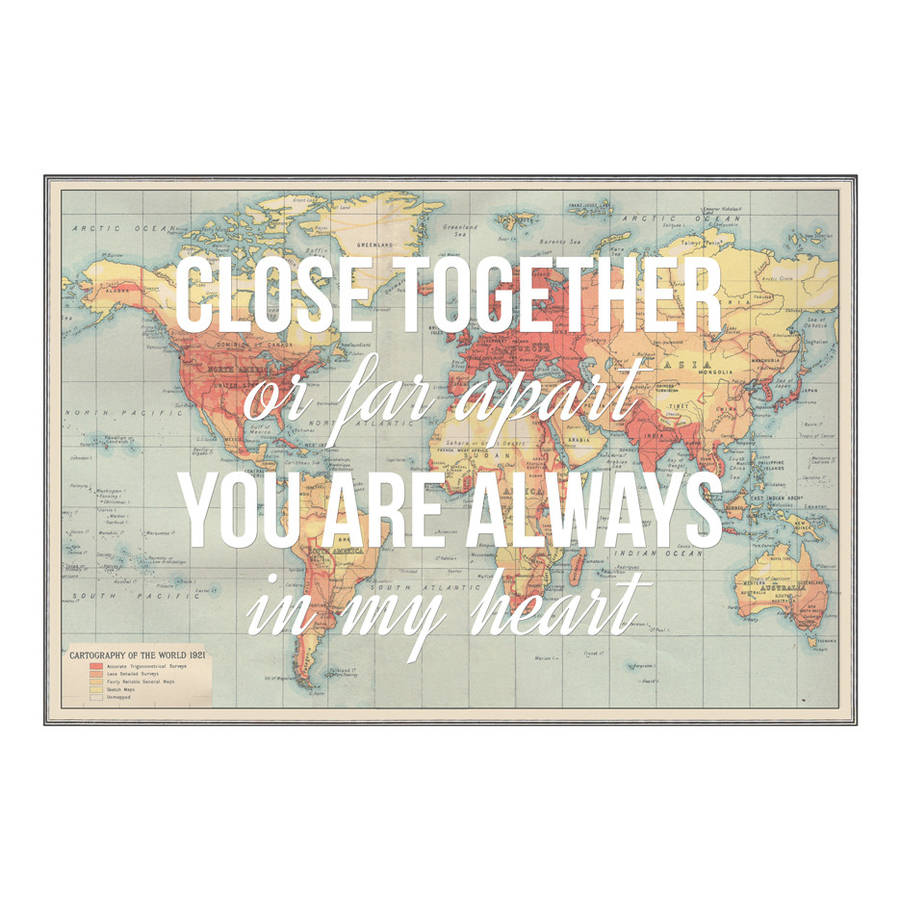 Long Distance Relationship Wallpapers With Quotes Personalised Long Distance Map Print By Of Life Amp Lemons