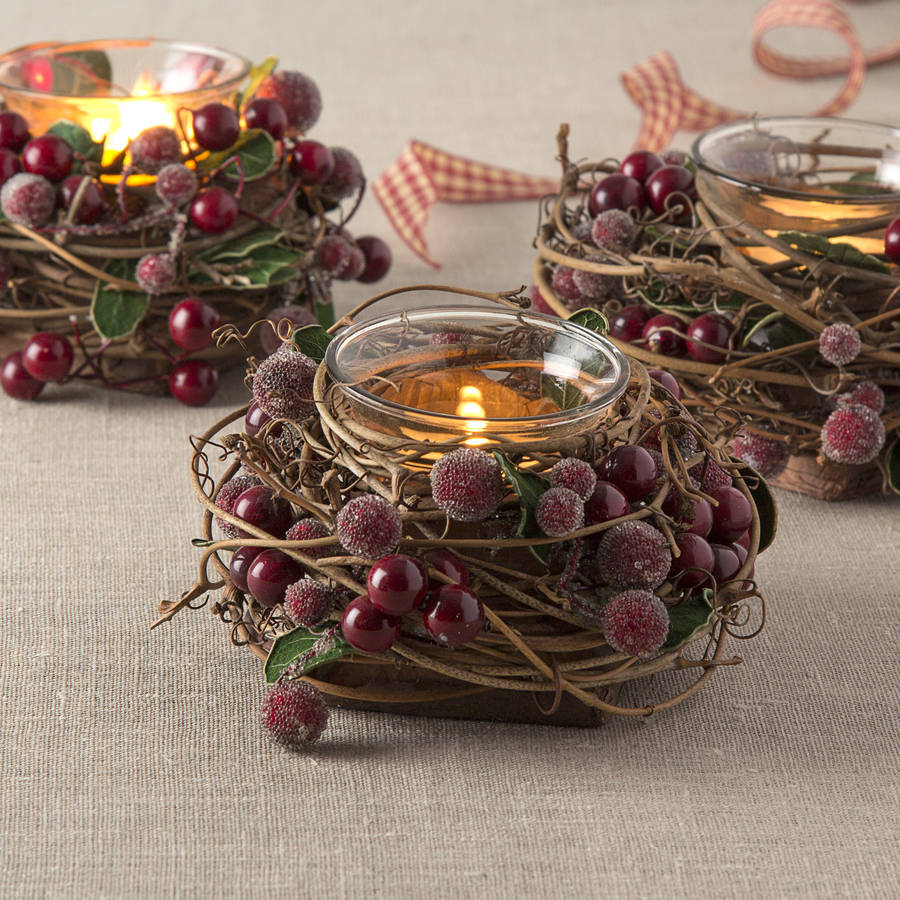 christmas berry tea light holder by the christmas home