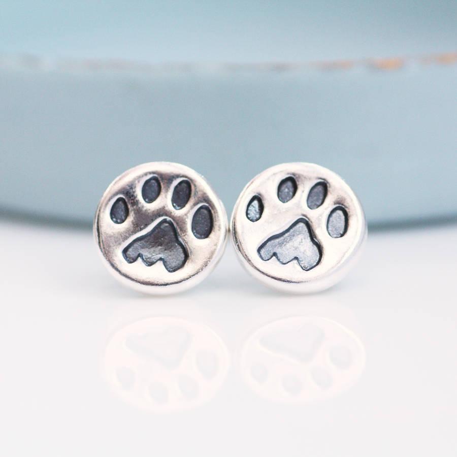 paw print earrings silver studs by green river studio