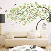 leaning tree with birds and birdcage wall sticker by wall ...