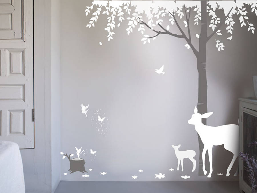 Pochoir Arbre Mural Magical Forest Wall Sticker By Bambizi
