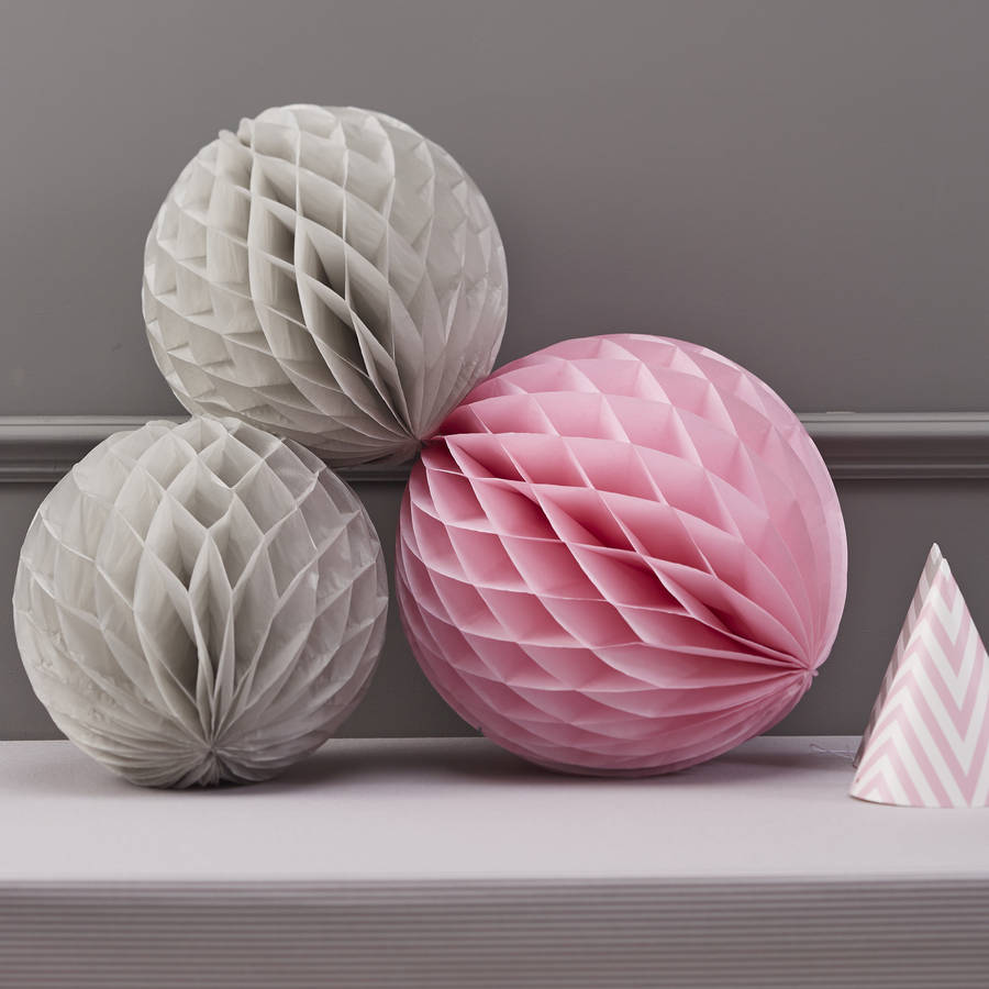 Hochzeitsdeko Altrosa Honeycomb Balls Grey And Pink Hanging Party Decorations By