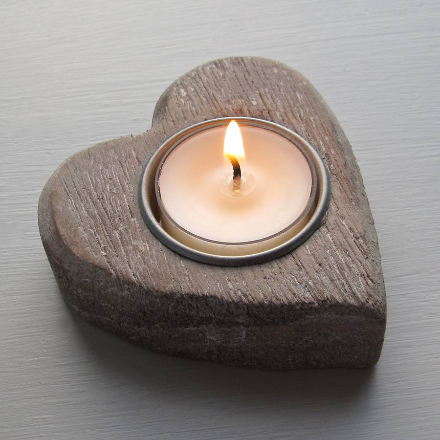 heart wooden candle holder by chapel cards