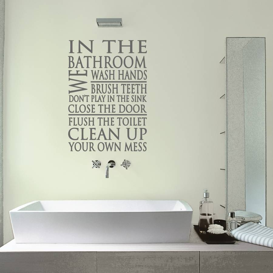 Bathroom wall sticker bathroom rules word block wall sticker by mirrorin