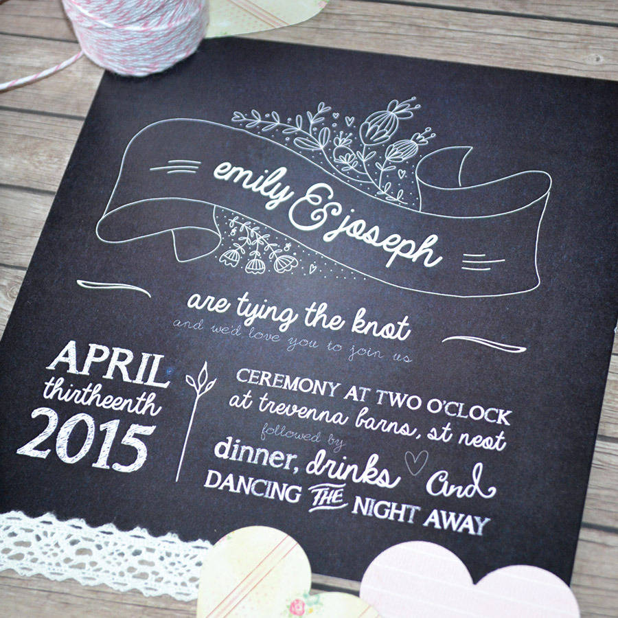 Village Fayre Chalkboard Wedding Invitation By Anon Design