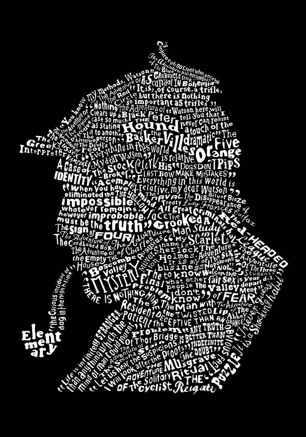 Famous Book Quotes Wallpaper Typographic Sherlock Holmes Print By Run For The Hills