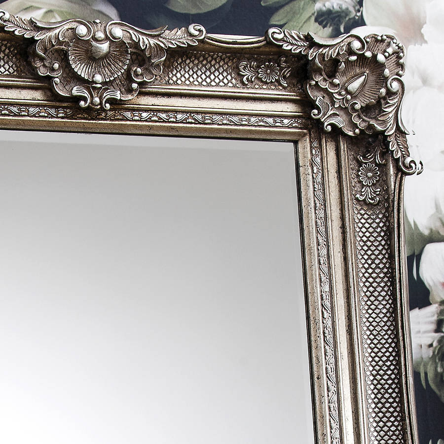 Standing Mirror Frame Ornate Antique Silver Wall Mirror By Primrose Plum