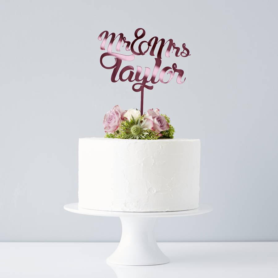 personalised mr and mrs wedding cake topper wedding cake topper Personalised Mr And Mrs Wedding Cake Topper