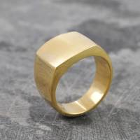 men's square signet 18 k gold plated silver ring by otis ...