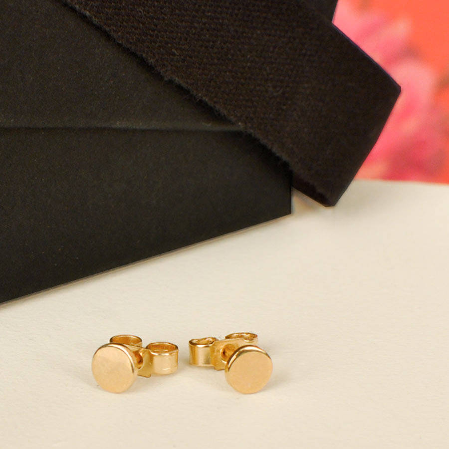 solid gold pin stud earrings by lindsay pearson
