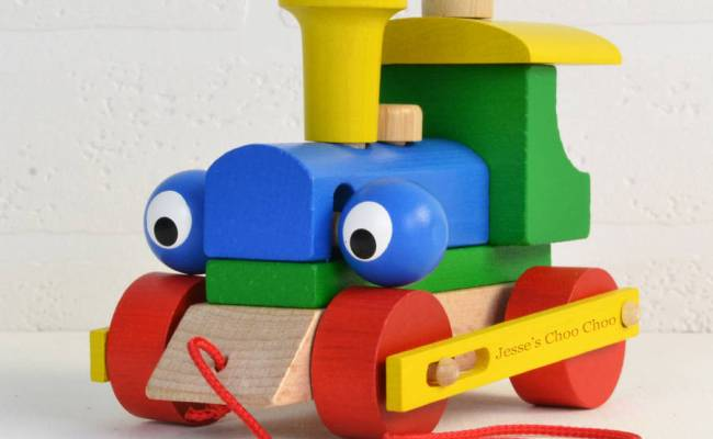 Personalised Wooden Train Take Apart And Pull Along Toy By