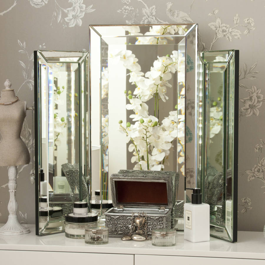 Decorative Mirror Table Medium Bevelled Dressing Table Triple Mirror