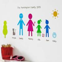 personalised family wall stickers portrait by kidscapes ...