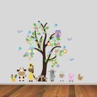 tree with farmyard animals wall sticker by mirrorin ...