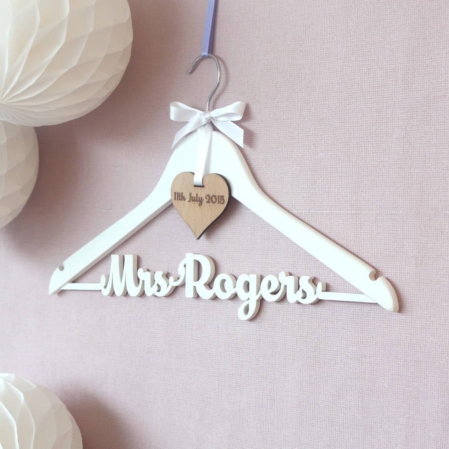 hangers dress protectors wedding hangers Personalised White Wedding Dress Hanger