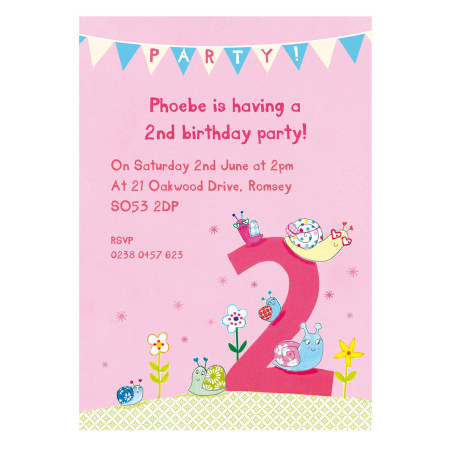 Personalised Second Birthday Party Invitations By Made By