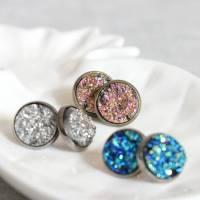 sparkling druzy stud earrings by little nell ...