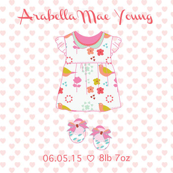 new baby girl dress greeting card by buttongirl designs