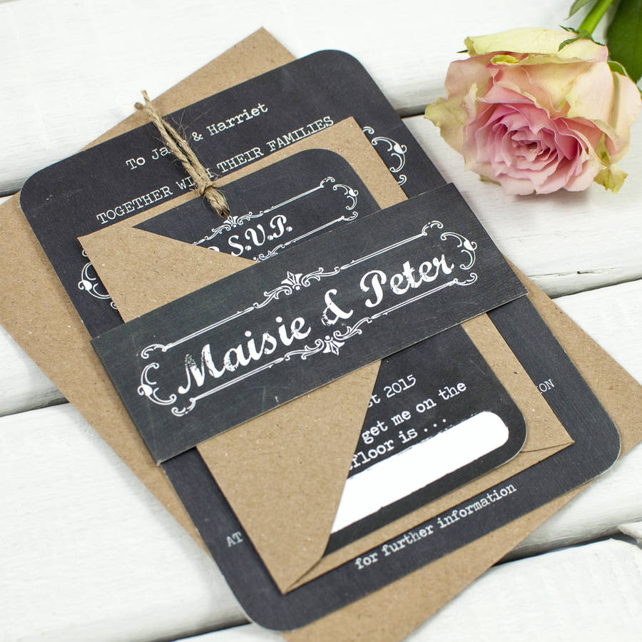 chalkboard wedding invitation bundle wedding invitations with pictures Chalkboard Wedding Invitations