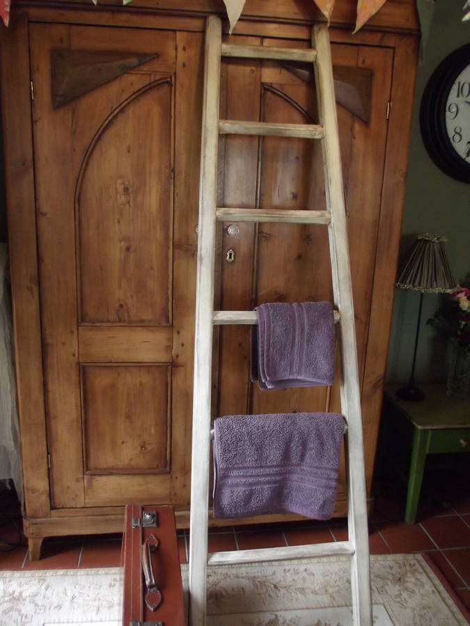 Large Reclaimed Wooden Towel Ladder By Woods Vintage Home