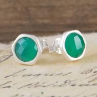 green onyx silver stud earrings by embers gemstone ...