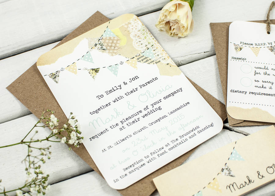 Country Bunting Wedding Invitation Bundle By Normadorothy