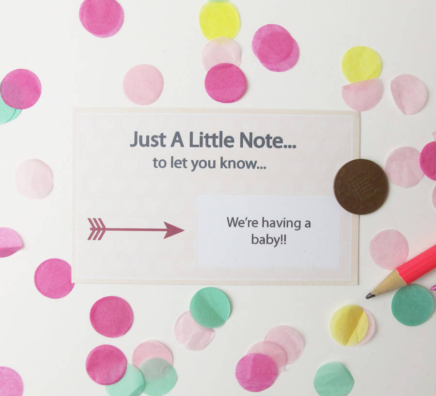personalised baby announcement scratch card by sarah hurley