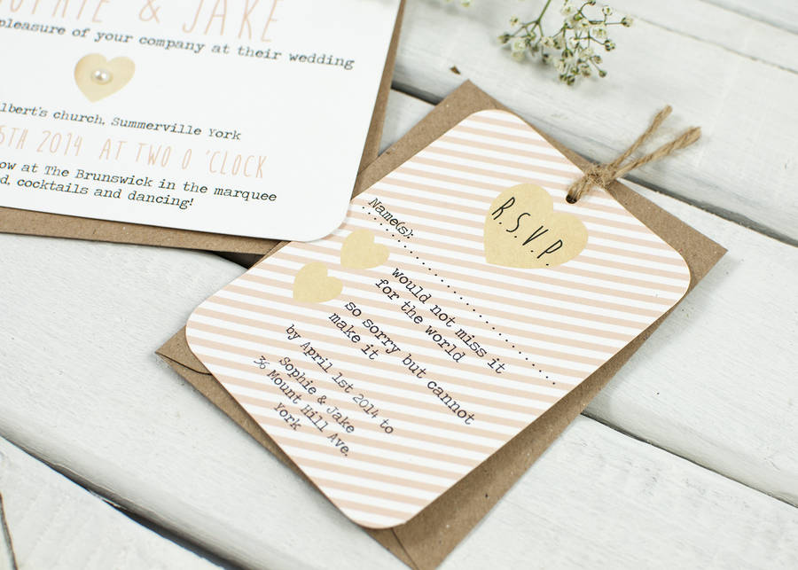 Peach Stripe Wedding Invitation Bundle By Normadorothy