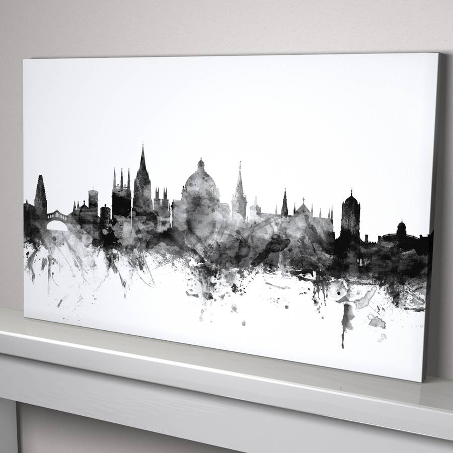 Black And White Canvas Pictures Oxford Skyline Cityscape Black And White