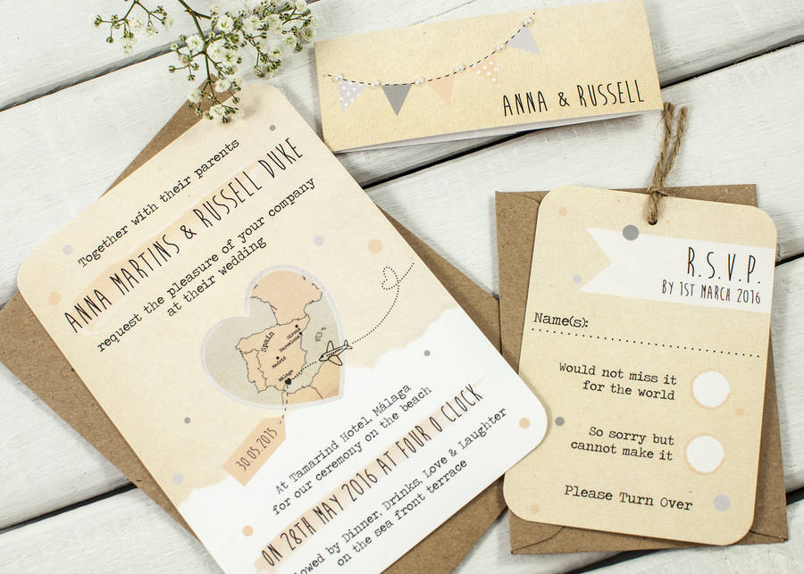 Bunting Map Wedding Invitation Bundle By Normadorothy