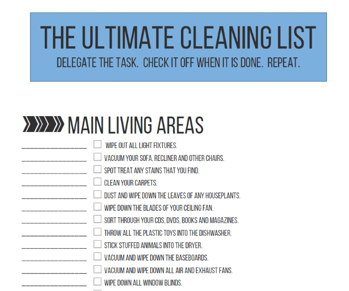 Free Spring Cleaning Checklist 100 Things to Clean