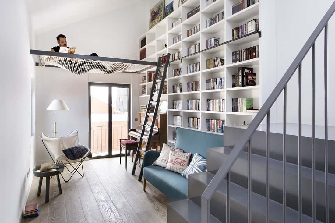 Home Und Design Inspiring Dwelling In Madrid Displaying A Cool Home Library