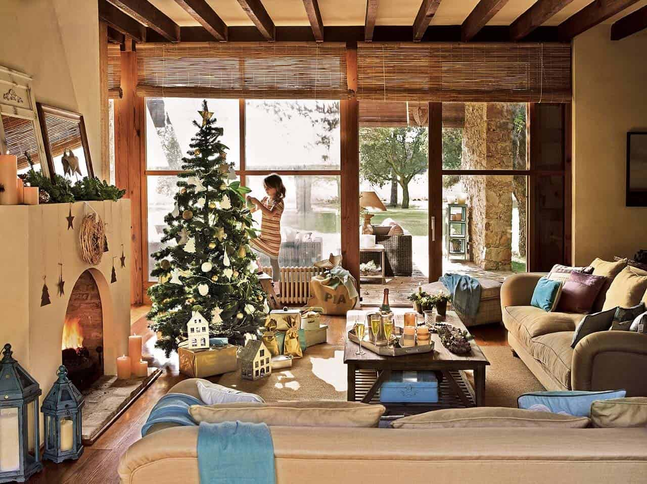 Casas Decoradas De Navidad Interiores Spanish Country House Adorned With Natural Christmas