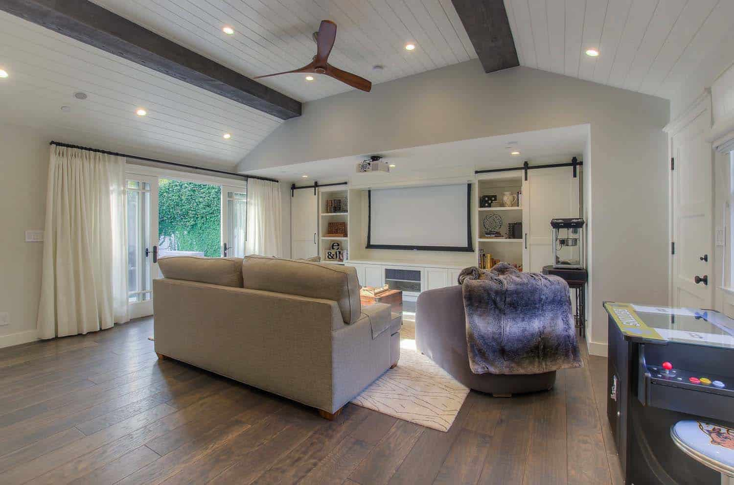Reclaimed Wood Bathroom Floor Garage Conversion To Cool Entertainment Space In Santa Monica