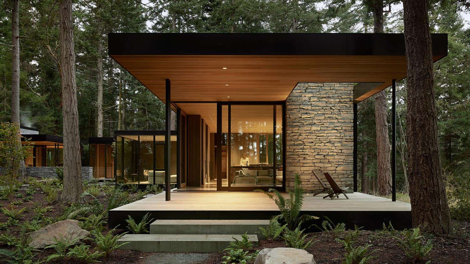 Glass House Surrounded By A Tranquil Forest Setting On Whidbey Island